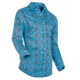 Heren Overhemd Styleover - 3174 Printed Aqua/Black