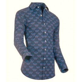 Heren Overhemd Styleover - 3183 Printed Black/Blue