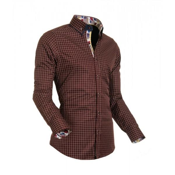 Bordeaux Overhemd.Heren Overhemd Styleover 5014 Basic Ruit Bordeaux