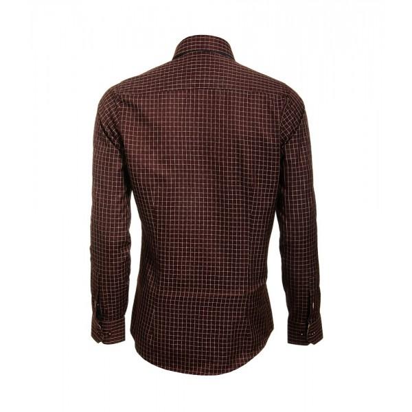 Heren Overhemd Styleover - 5014 Basic Ruit Bordeaux
