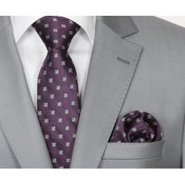 Zijden Stropdas en Pochet Heren  KP-066 Purple