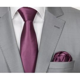 Zijden Stropdas en Pochet Heren  KP-193 Purple