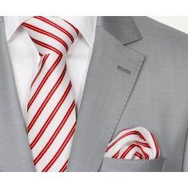 Zijden Stropdas en Pochet Heren  KP-028 White/Red
