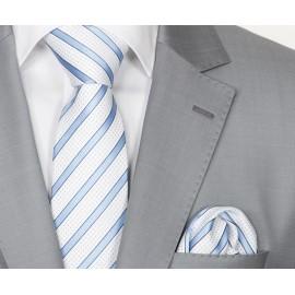 Zijden Stropdas en Pochet Heren  KP-065 White/Blue