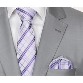 Zijden Stropdas en Pochet Heren  KP-107 White Lilac Striped